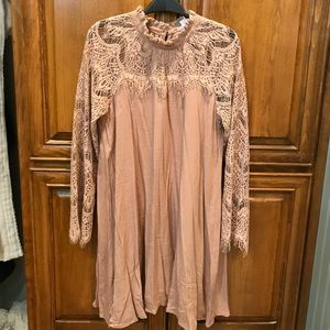 Blush lace neck mini dress